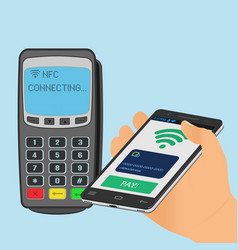 wireless payment with nfc technology using a vector image