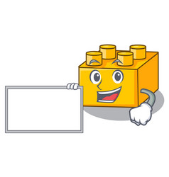 With board plastic building blocks cartoon on toy vector