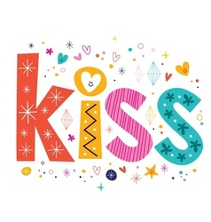 word kiss lettering decorative text vector image