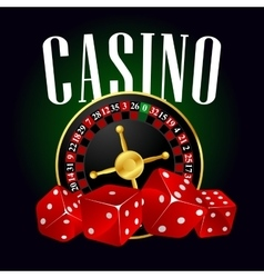 Casino roulette and red dices vector image