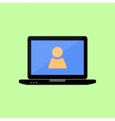 Flat style laptop with person sign vector image vector image
