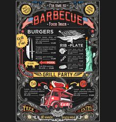 food truck menu street food bbq grill festival vector image
