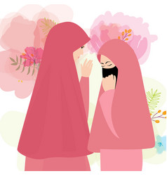 friends wear veil scarf islam cover face two woman vector image vector image