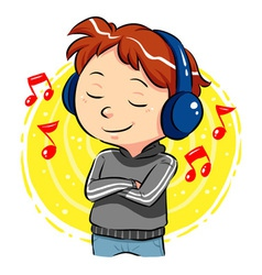 Listening To Music vector image vector image