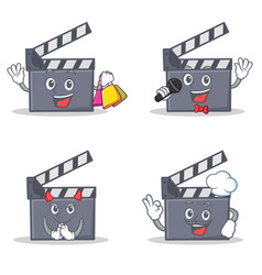Set of movie clapper character with shopping vector