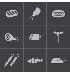 black meat icons set vector image vector image