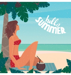 Girl on vacation relaxing on the beach vector image vector image