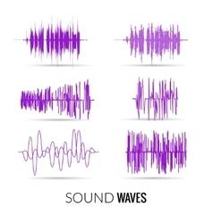 lilac sound waves set Audio equalizer vector image