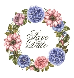 Save the date watercolor greeting card with peony vector image vector image