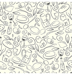seamless restaurant pattern vector image