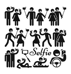 Selfie stick woman and man icons set vector image vector image