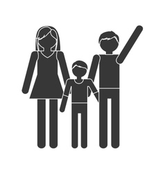 silhouette family mom dad and son together members vector image vector image