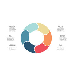 Business infographics pie chart with 6 sections vector