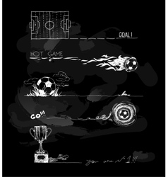 Chalk of soccer game elements vector image