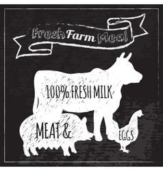 Farm Poster Chalkboard vector image vector image