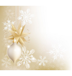 gold snowflake and christmas bauble background vector image