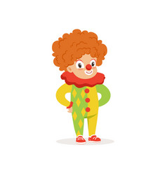 little boy dressed as a clown cute kid in vector image