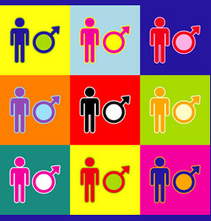 male sign pop-art style vector image