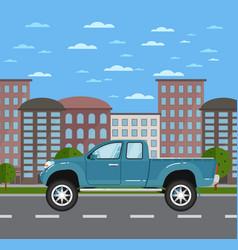 modern pickup truck in urban landscape vector image vector image