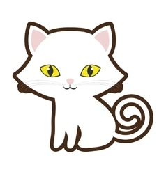 small cat sitting yellow eyes vector image