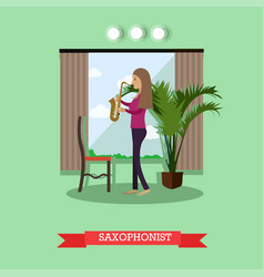 woman playing saxophone in vector image vector image