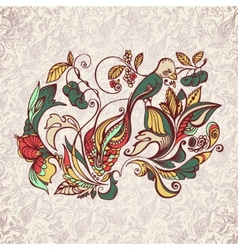 abstract floral pattern with bird vector image vector image