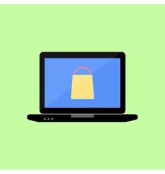Flat style laptop with shopping bag vector image vector image