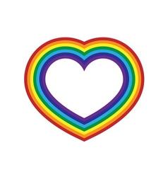 Rainbow icon heart flat design vector image vector image