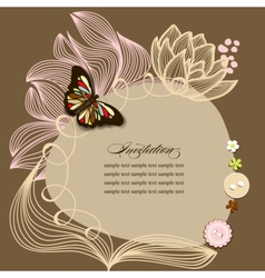 Scrapbook design invitation template with flowers vector image vector image