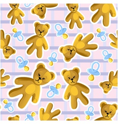 Seamless baby pattern with pacifier and teddy bear vector image vector image
