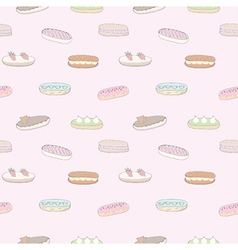 Seamless pattern of the delicious eclairs vector image vector image