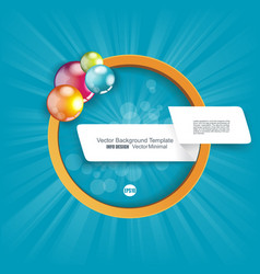 White paper banner and orange circle with bright vector