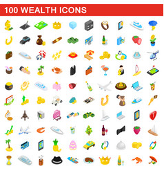100 wealth icons set isometric 3d style vector