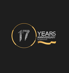 17 years anniversary logotype style with silver vector