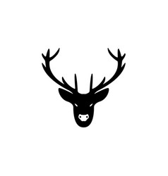a deer head silhouette black vector image