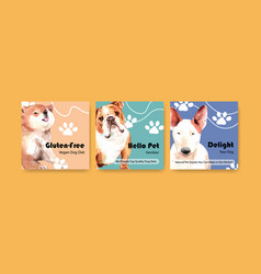 Advertise template with dogs and food design vector