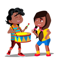 afro american boy playing drum next to dancing vector image