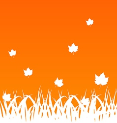 Autumn background with flying maples and grass vector image