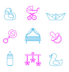 baby and kids set icons vector image