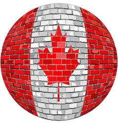 Ball with canada flag in brick style vector