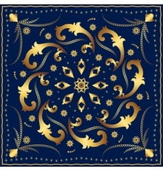 Bandana with gold pattern on a blue background vector