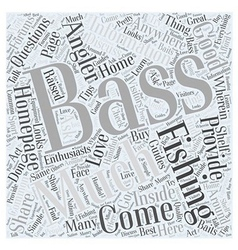 Bass fishing home page word cloud concept vector