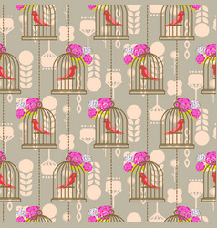 Bird cage romantic seamless pattern roses vector