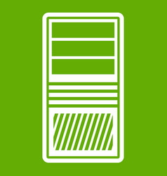 black computer system unit icon green vector image