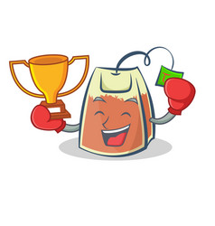Boxing tea bag character winner cartoon art vector