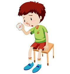 Boy with bleeding nose vector