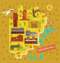 broken hills map australia famous landmarks vector image