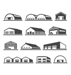 building warehouse set distribution and vector image