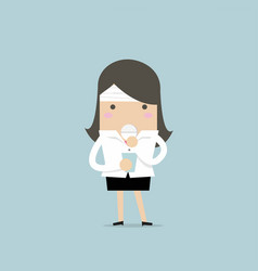 businesswoman take a pill for a headache vector image