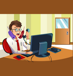 Busy businessman on the phone vector